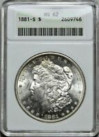 1881-S MORGAN DOLLAR MINT STATE 62 >> ANACS CERTIFIED SILVER $1 COIN