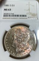 1881-S NGC MINT STATE 63 MORGAN SILVER DOLLAR