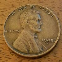1945 S  1CENT LINCOLN  WHEAT-STOCK PHOTO-WW2 ERA-SHIPS FREE