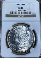 1881-S NGC MINT STATE 66 MORGAN SILVER DOLLAR