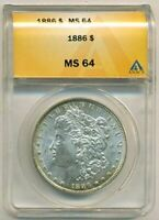 1886 MORGAN SILVER DOLLAR MINT STATE 64 ANACS