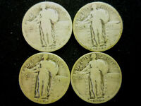 LOT OF 4 STANDING LIBERTY QUARTERS 1926-S 1928-S 1929-S 1930-S 90 SILVER LOT 4