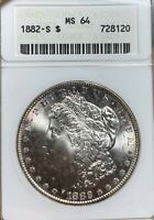 1882-S ANACS MINT STATE 64 MORGAN SILVER DOLLAR