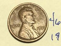 1921 1C BN LINCOLN CENT WHEAT CENT 4606K