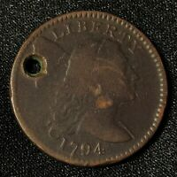 1794 1C LIBERTY CAP FLOWING HAIR LARGE CENT EARLY COPPER CHOICE DETAILS HOLED