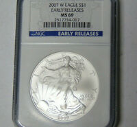 NGC MINT STATE 69 2007-W AMERICAN SILVER EAGLE .999 SILVER DOLLAR BURNISHED EARLY RELEASE