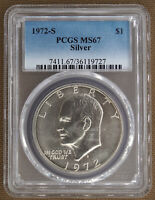 1972-S SILVER UNCIRCULATED EISENHOWER DOLLAR PCGS MINT STATE 67 19727