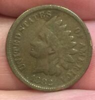 1882 INDIAN HEAD CENT AVERAGE CONDITION COIN  3/4 LIBERTY [LOT339]