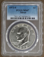 1972-S SILVER UNCIRCULATED EISENHOWER DOLLAR PCGS MINT STATE 67 60121