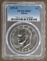 1972-S SILVER UNCIRCULATED EISENHOWER DOLLAR PCGS MINT STATE 67 66828