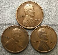 1919-P 1919-D 1919-S  LINCOLN WHEAT CENTS- BETTER GRADE  FREE SHIP. B707