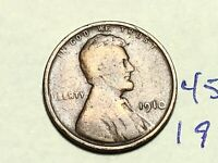 1910 1C BN LINCOLN CENT WHEAT CENT 4583K