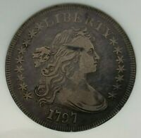 1797 STARS 9X7 LARGE LETTERS BB-73 NGC VF25 DRAPED BUST US SILVER DOLLAR $1