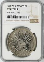 1892 ZS FZ MEXICO SILVER 8 REALES NGC EXTRA FINE  DETAILS
