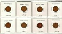 LOT OF 8 WHEAT PENNIES - 1919-S, 1926, 1930, 1936-D, 1942, 1946, 1952-D, 1957-D