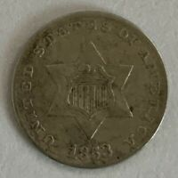 1853 THREE CENT / 3C SILVER PIECE FULL DATE & FULL LETTERING