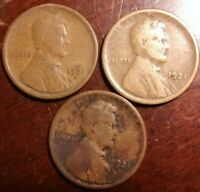 LOT OF 3 1921-S LINCOLN WHEAT CENT