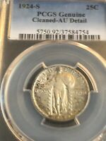 1924-S STANDING LIBERTY QUARTER PCGS GENUINE CLEANED - AU DETAIL