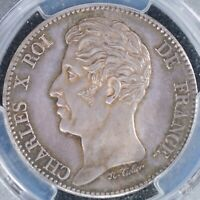 5 FRANC 1825 PCGS SP63 FRANCE PATTERN CHARLES X MAX 900  CUNC SILVER COIN