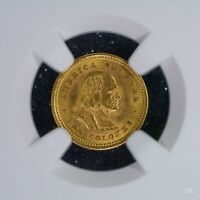 DOS COLONES 1900NGC MS64 COSTA RICA GOLD COIN BU UNC GREAT LUSTER