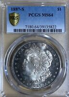 1887-S  PCGS MINT STATE 64 MORGAN SILVER DOLLAR