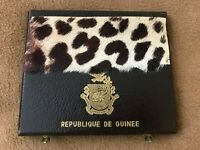 GUINEA SET OF 7 SILVER PROOF COINS 1969 LUXURY BOX INCL. JOURNAL OFFICIEL
