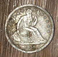 1838 SEATED LIBERTY DIME,  GOOD DETAIL, NEVER CLEANED