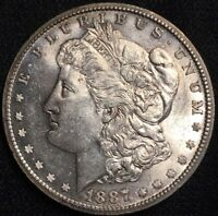 1887 S MORGAN SILVER DOLLAR UNC BU WELL STRUCK DETAILS KEY DATE COIN SOME TONING