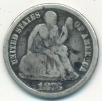 1876-CC SEATED LIBERTY SILVER DIME-KEY DATE  CIRCULATED DIME-FREE S/H INV1