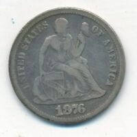 1876-CC SEATED LIBERTY SILVER DIME-KEY DATE  CIRCULATED DIME-FREE S/H INV2