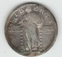 1919 D  FINE VF STANDING LIBERTY SILVER US QUARTER 25C