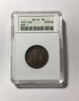 1917 P TYPE 1 STANDING LIBERTY QUARTER  ANACS MINT STATE 61