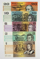 AUSTRALIAN BANKNOTES TYPE SET OF $20 $10 $5 $2 AND $1 D6 181