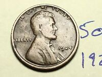 1924 1C BN LINCOLN CENT WHEAT CENT 5097K