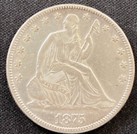 1875 SEATED LIBERTY FIFTY CENT PIECE  .50  KEY DATE AU