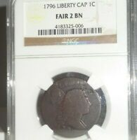 1796 1C LIBERTY CAP LARGE CENT COIN NGC FAIR 2 BN US COLONIAL COPPER COINAGE