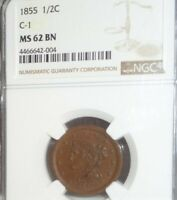 1855 US 1/2C BRAIDED HAIR HALF CENT COIN NGC MINT STATE 62 BN C-1 MINT STATE BROWN
