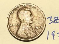 1924 1C BN LINCOLN CENT WHEAT CENT 3890K