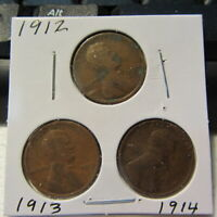 1912 1913 & 1914-P   LINCOLN HEAD SMALL CENTS