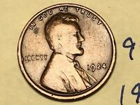 1924 1C BN LINCOLN CENT 9241W WHEAT CENT