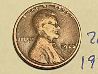 1925-S 1C BN LINCOLN CENT WHEAT CENT 2635K