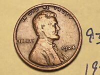 1924 1C BN LINCOLN CENT 9367W WHEAT CENT