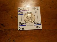 1942D WASHINGTON QUARTER DOUBLED DIE VG COOL          LOOOOO