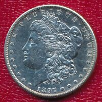 1897-S MORGAN SILVER DOLLAR CHOICE ABOUT UNCIRCULATED SHIPS FREE