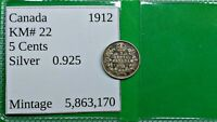 WORLD FOREIGN OLD CANADA 1912 SILVER 5 CENT COIN KM 22    FI