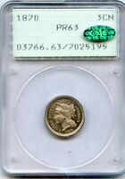 1889 THREE CENT NICKEL PCGS 63 CAC RATTLER