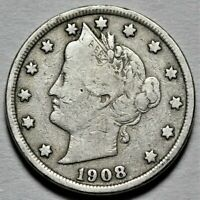 1908 LIBERTY HEAD NICKEL  >> US 5C COIN <<  FLAT RATE SHIPPING  LOT 620