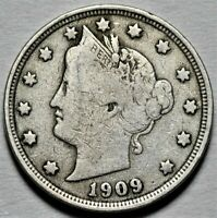 1909 LIBERTY HEAD NICKEL  >> US 5C COIN <<  FLAT RATE SHIPPING  LOT 620