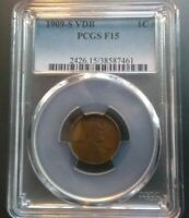 1909-S VDB LINCOLN CENT >PCGS F15< SUPER FAST SHIPS FREE