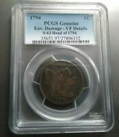 1794 LIBERTY CAP LARGE CENT >S-63< FALLEN 4 < PCGS VF 20 >SUPER FAST SHIPPING